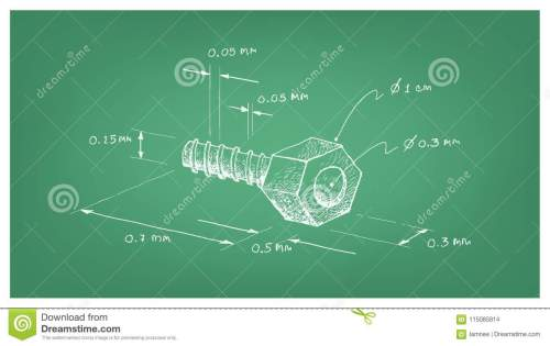 small resolution of manufacturing and industry illustration hand drawn sketch dimension of hex nut and screw a type of fastener with threaded hole used in conjunction with a