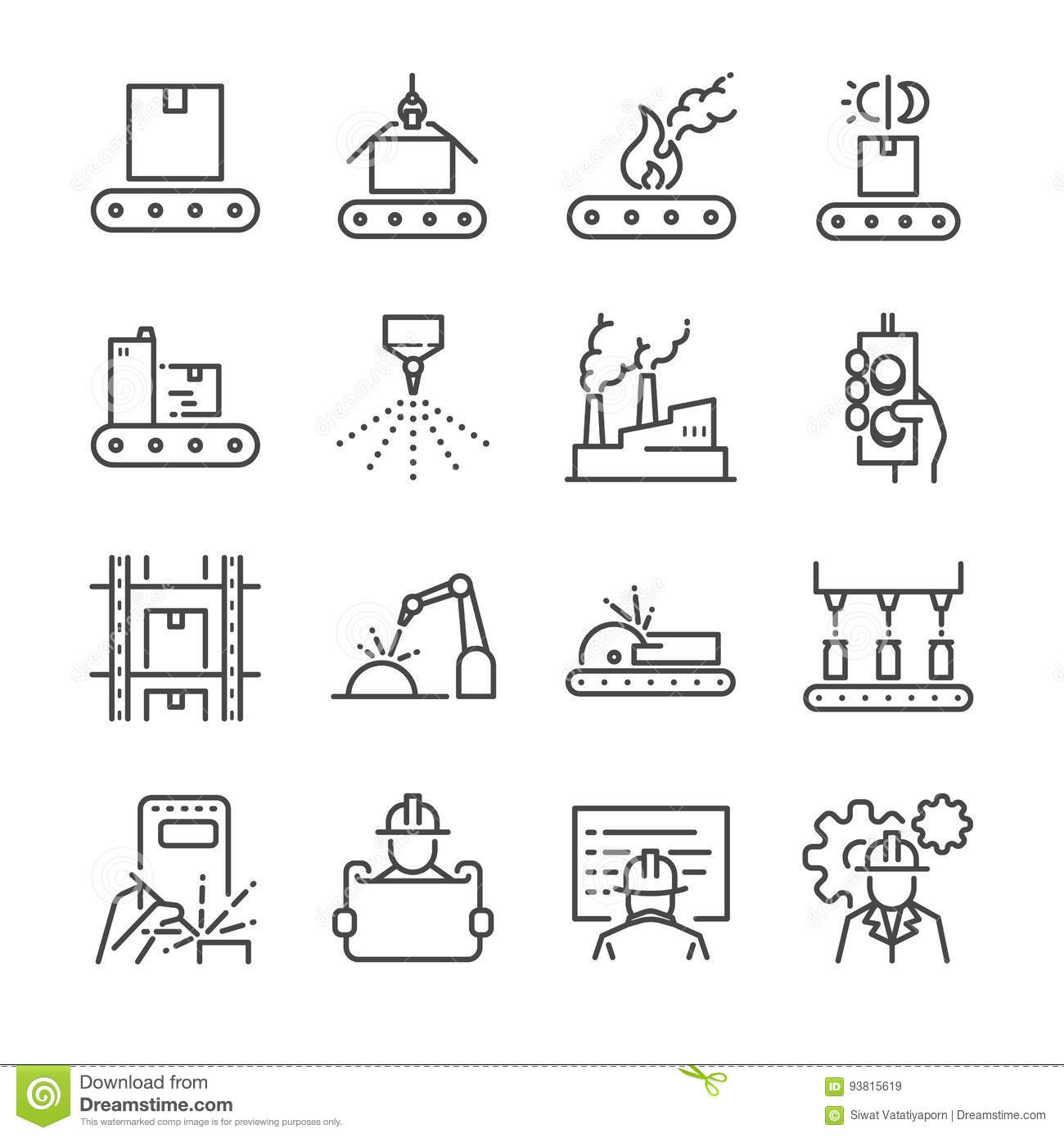 Manufacturing Line Icon Set Included The Icons As Process