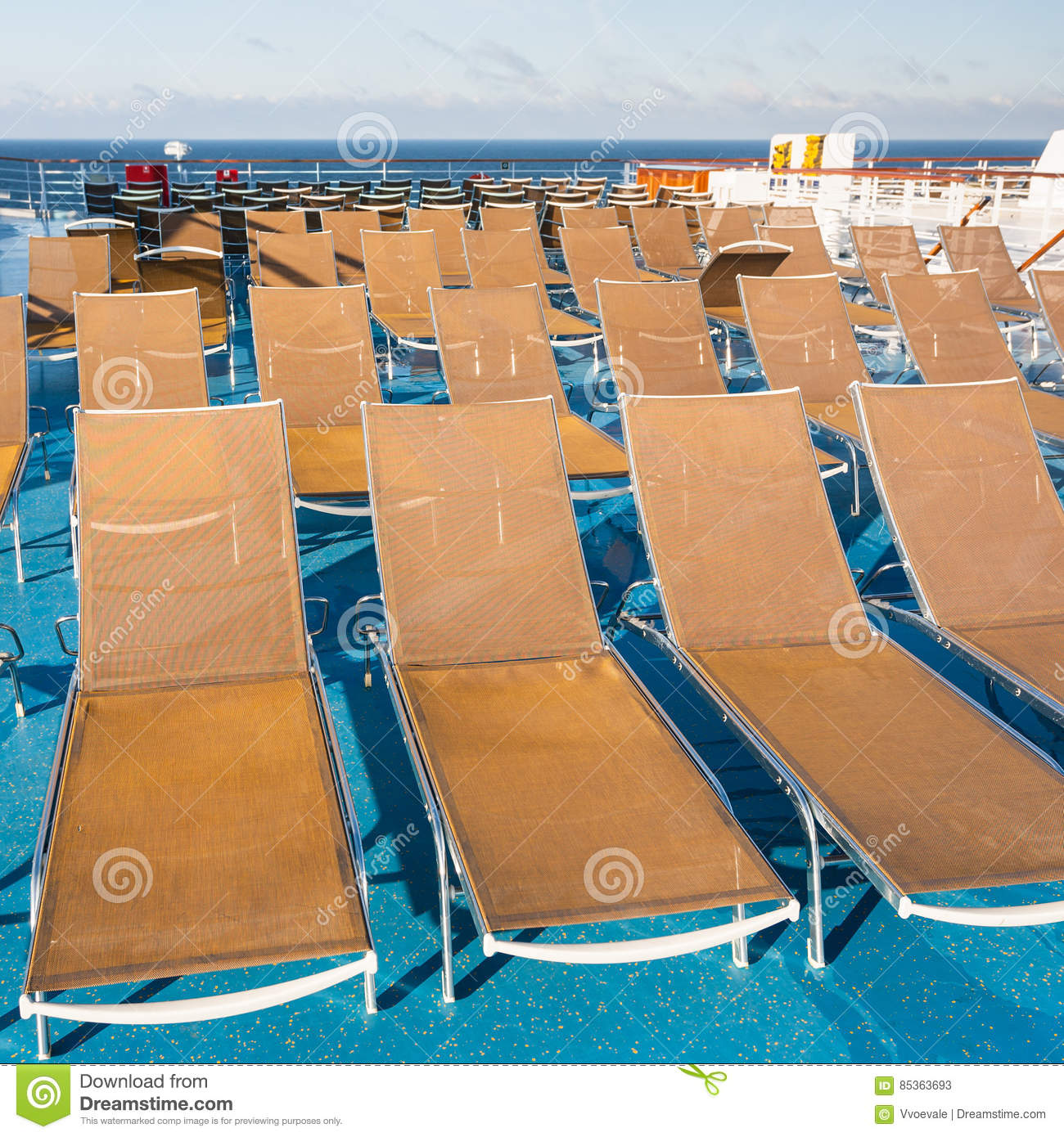 Sunbathing Chairs Many Empty Sunbathing Chairs On Upper Deck Stock Image