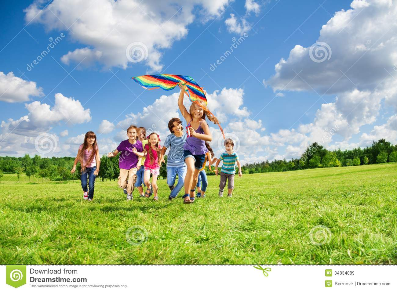 Many Kids Have Fun With Kite Stock Image - Image: 34834089