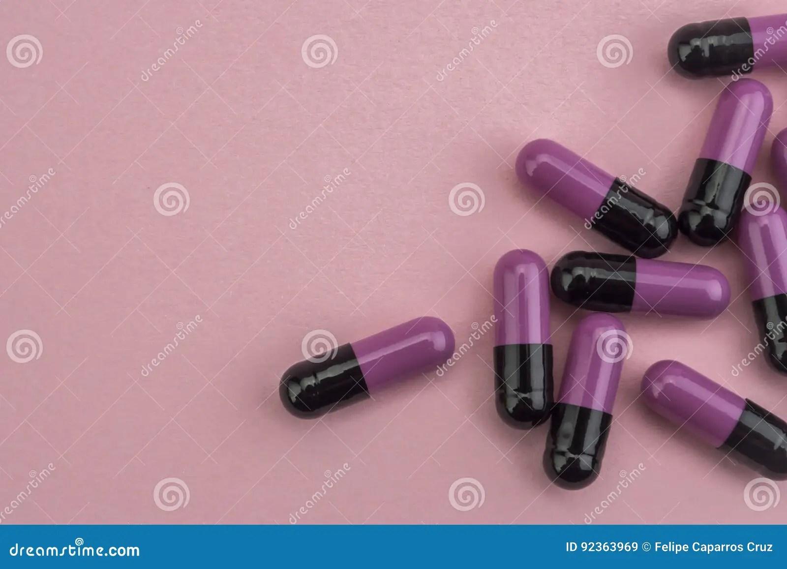 Many Medicines Purple And Black Pills Capsules Stock Image ...