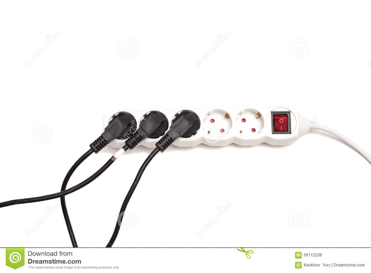 Many Plugs Plugged Into Electric Power Bar Stock Photo