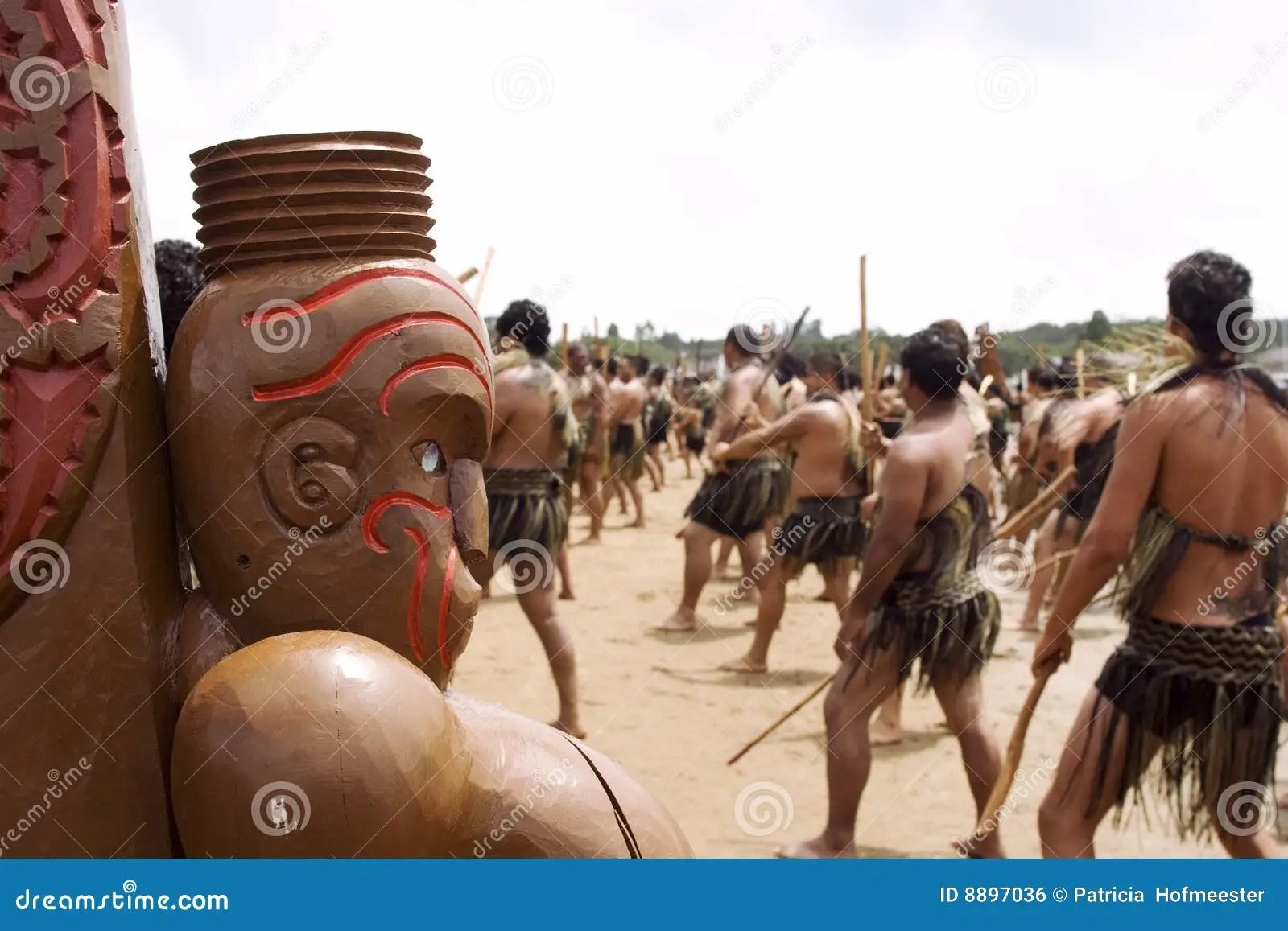 Maori Haka war Dance At Waitingi In New Zealand Stock