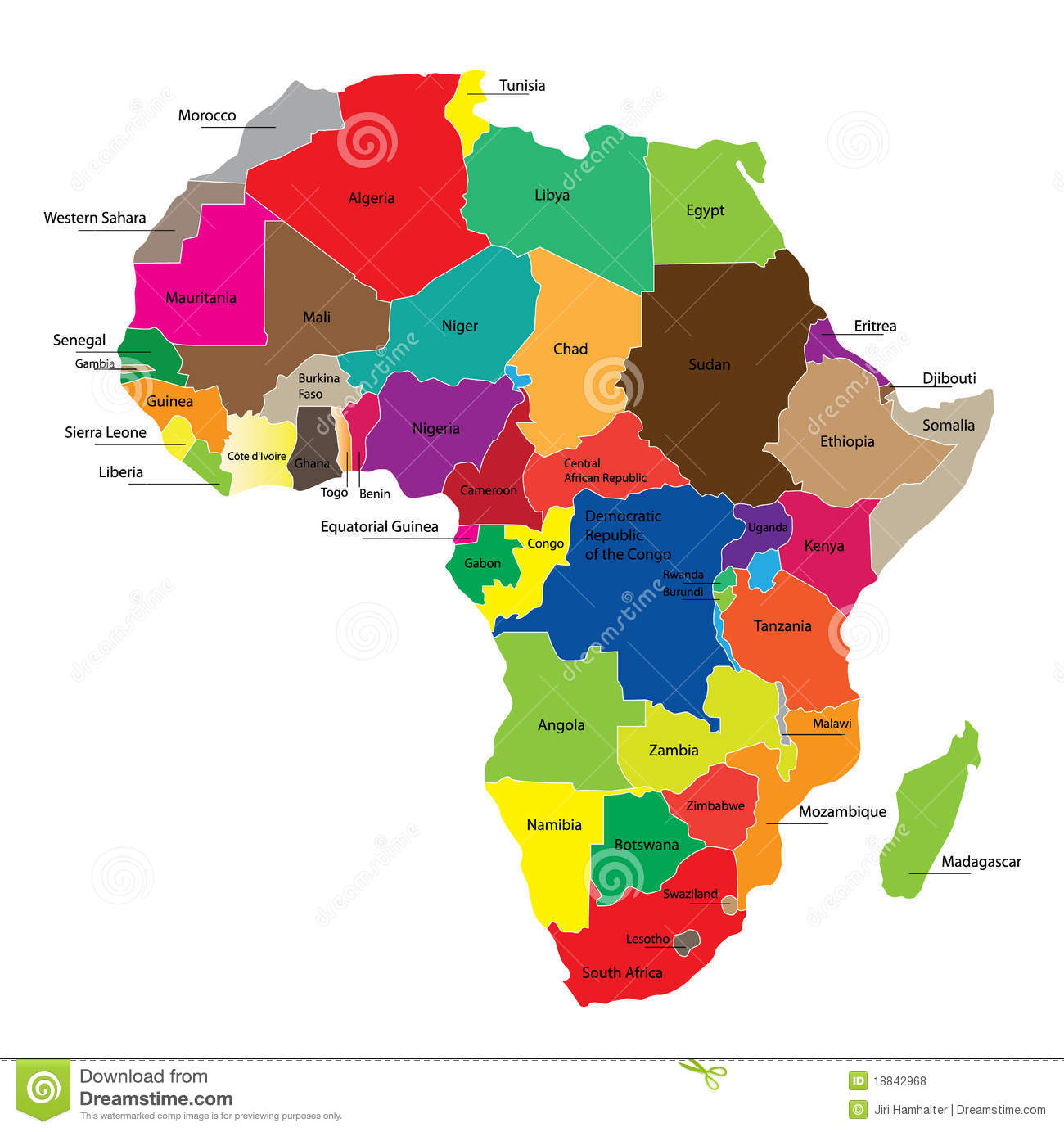 Map Of Africa Stock Vector Illustration Of Boundaries