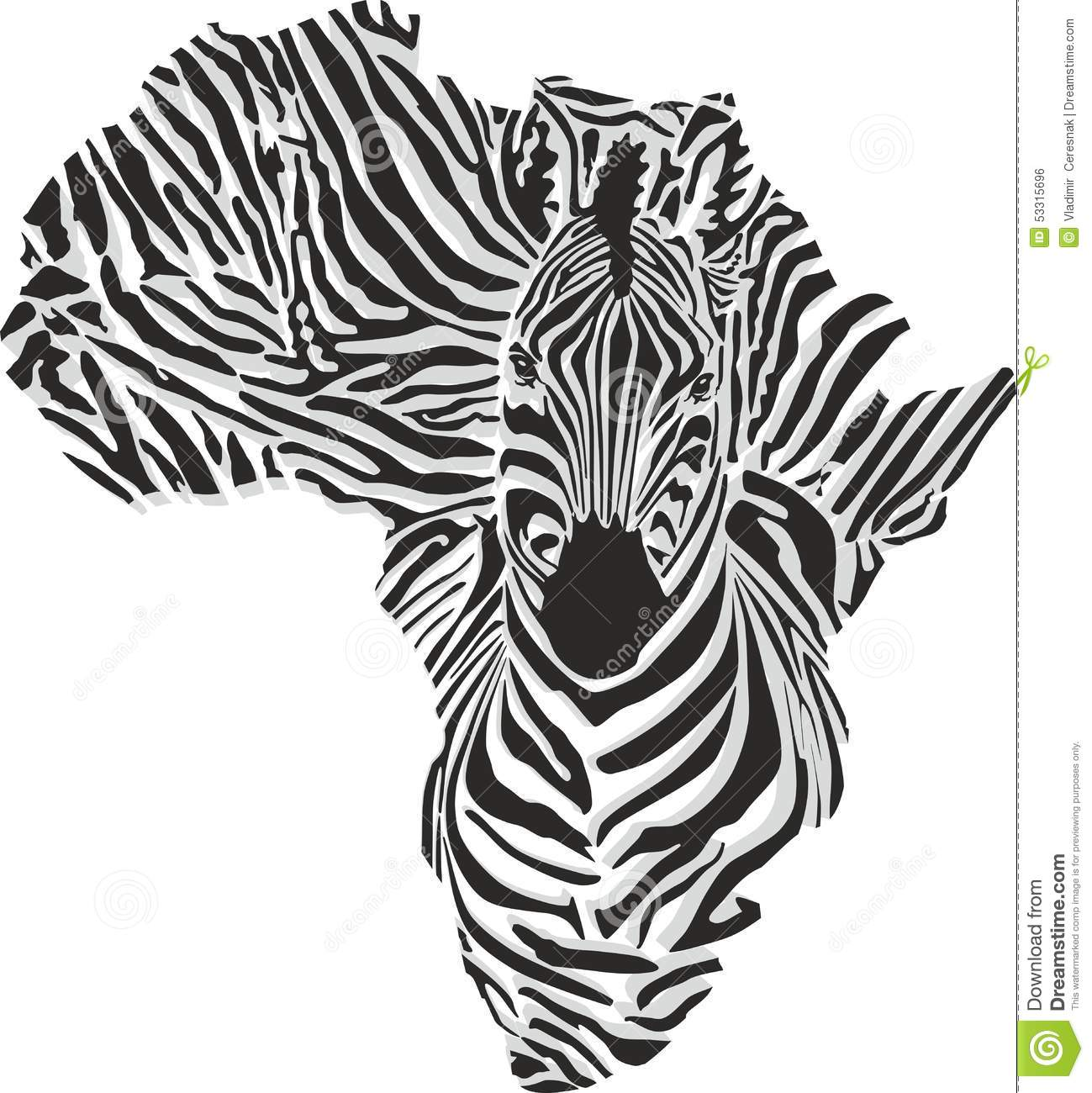 Map Of Africa With The Head Zebra Stock Vector