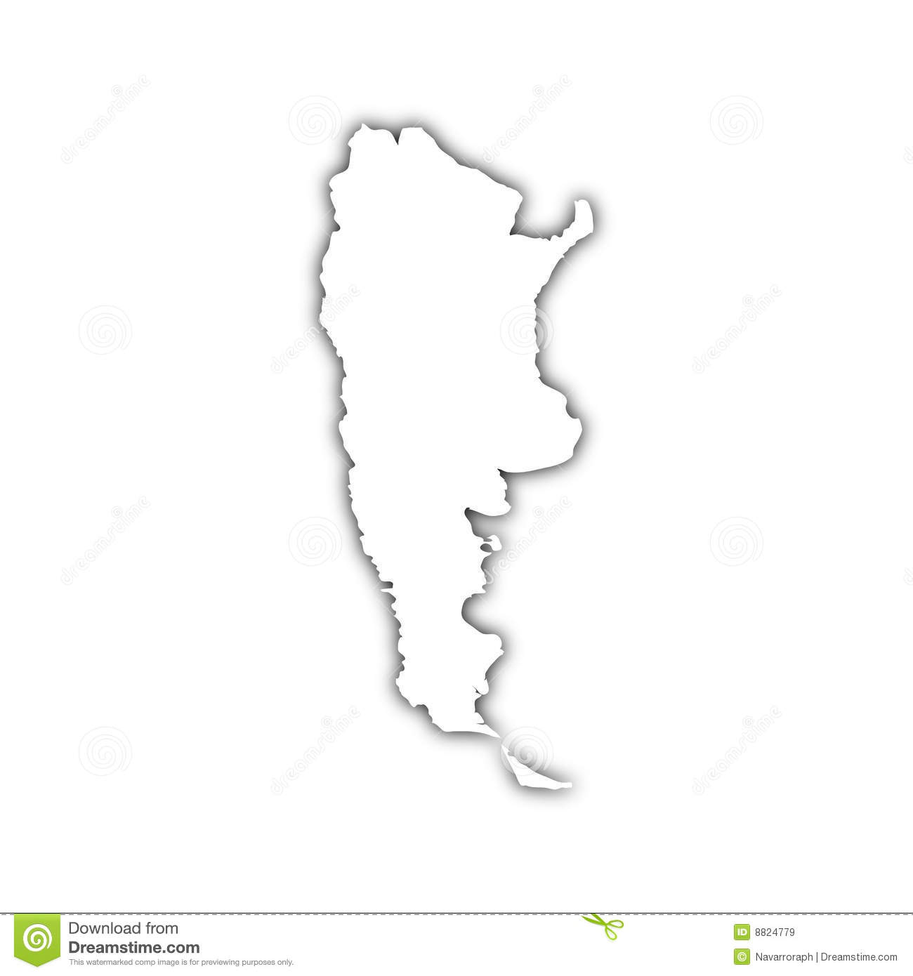 Map Of Argentina With Shadow Royalty Free Stock Images