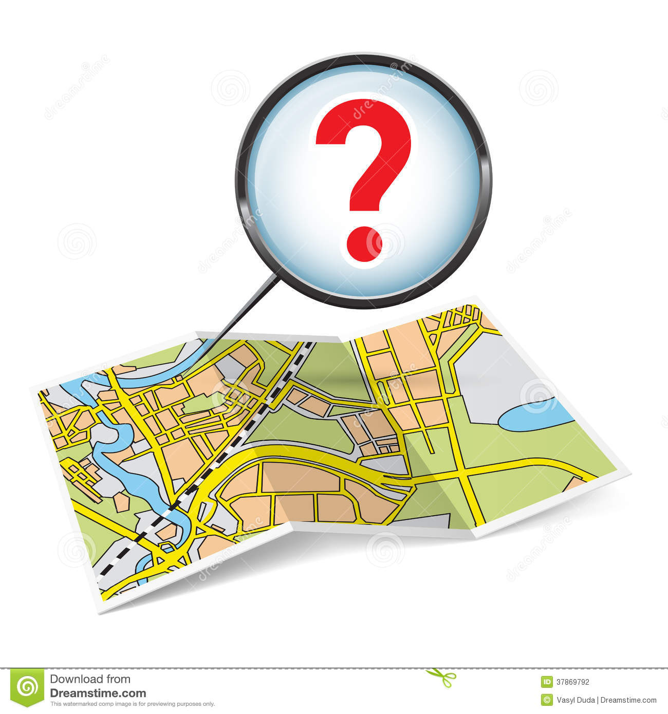 Map Booklet With Question Mark Stock Vector