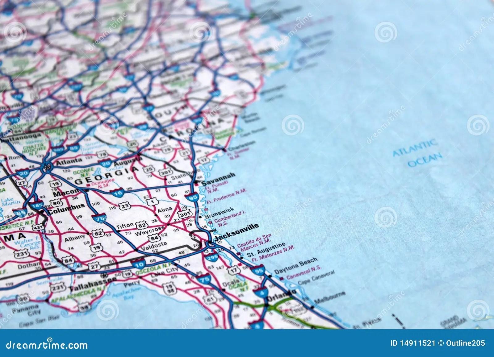 Map East Coast America Stock Image