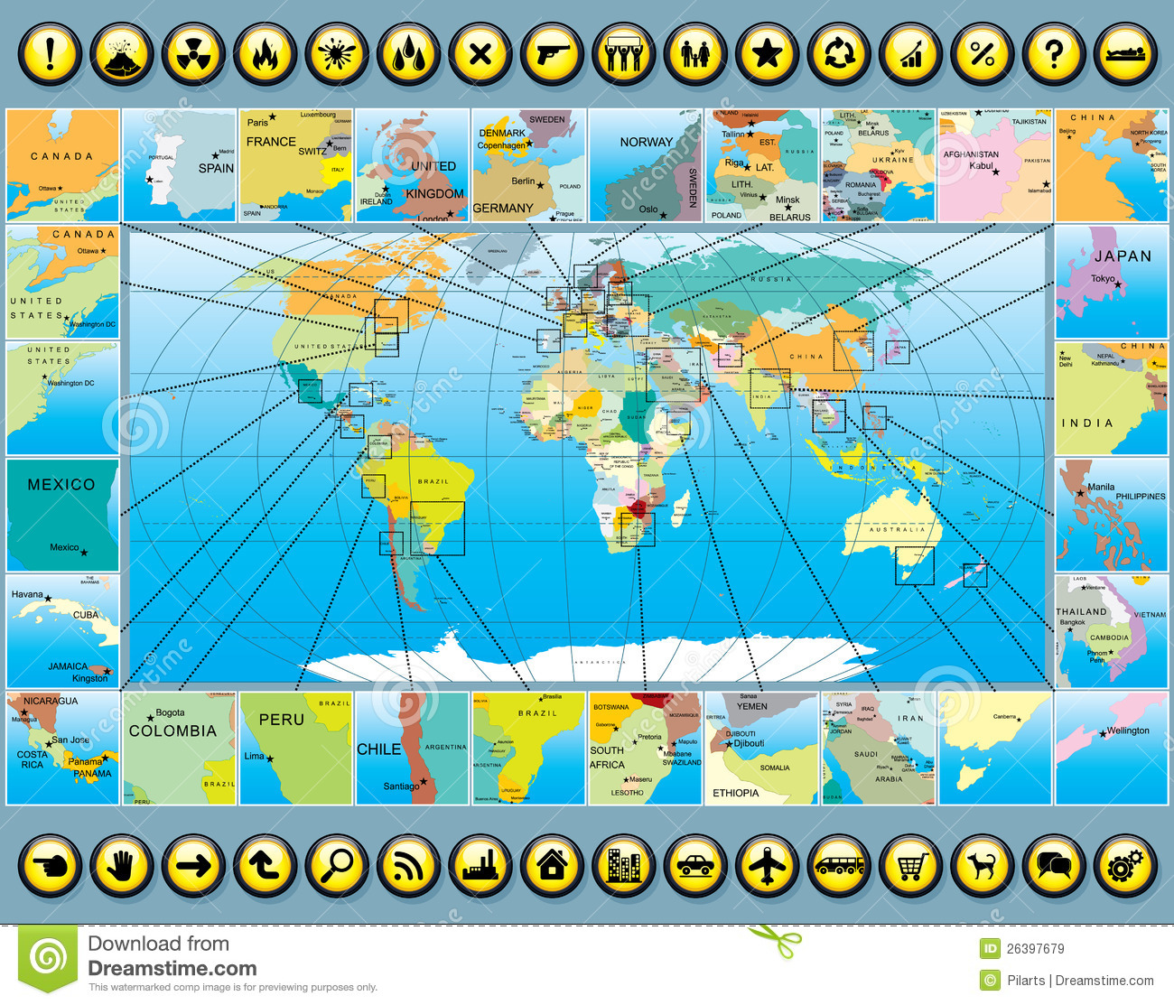 Map Elements With World Map Stock Vector