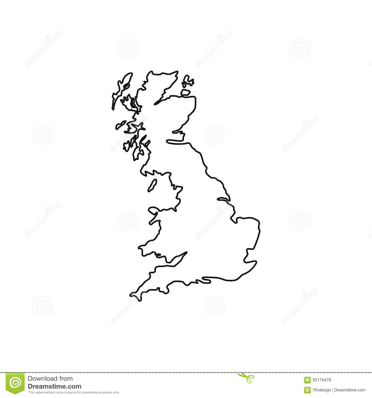 Map Of Great Britain Icon Outline Style Stock Vector
