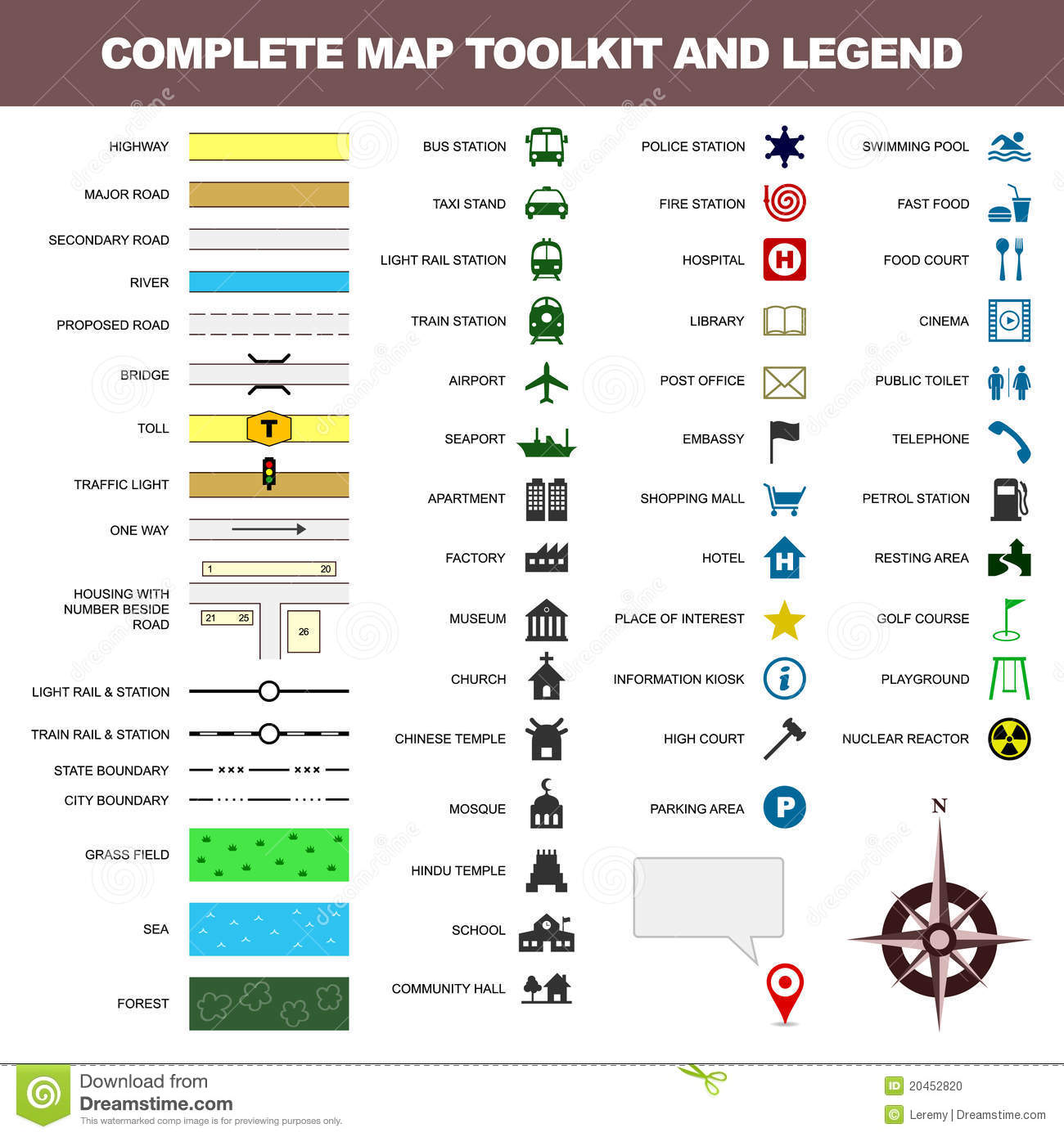 Map Icon Legend Symbol Sign Toolkit Element Stock Vector