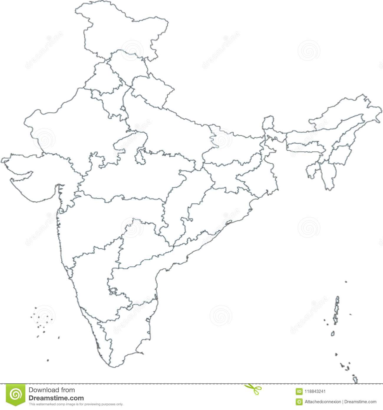 Map Of India Asia With All States And Country Boundary