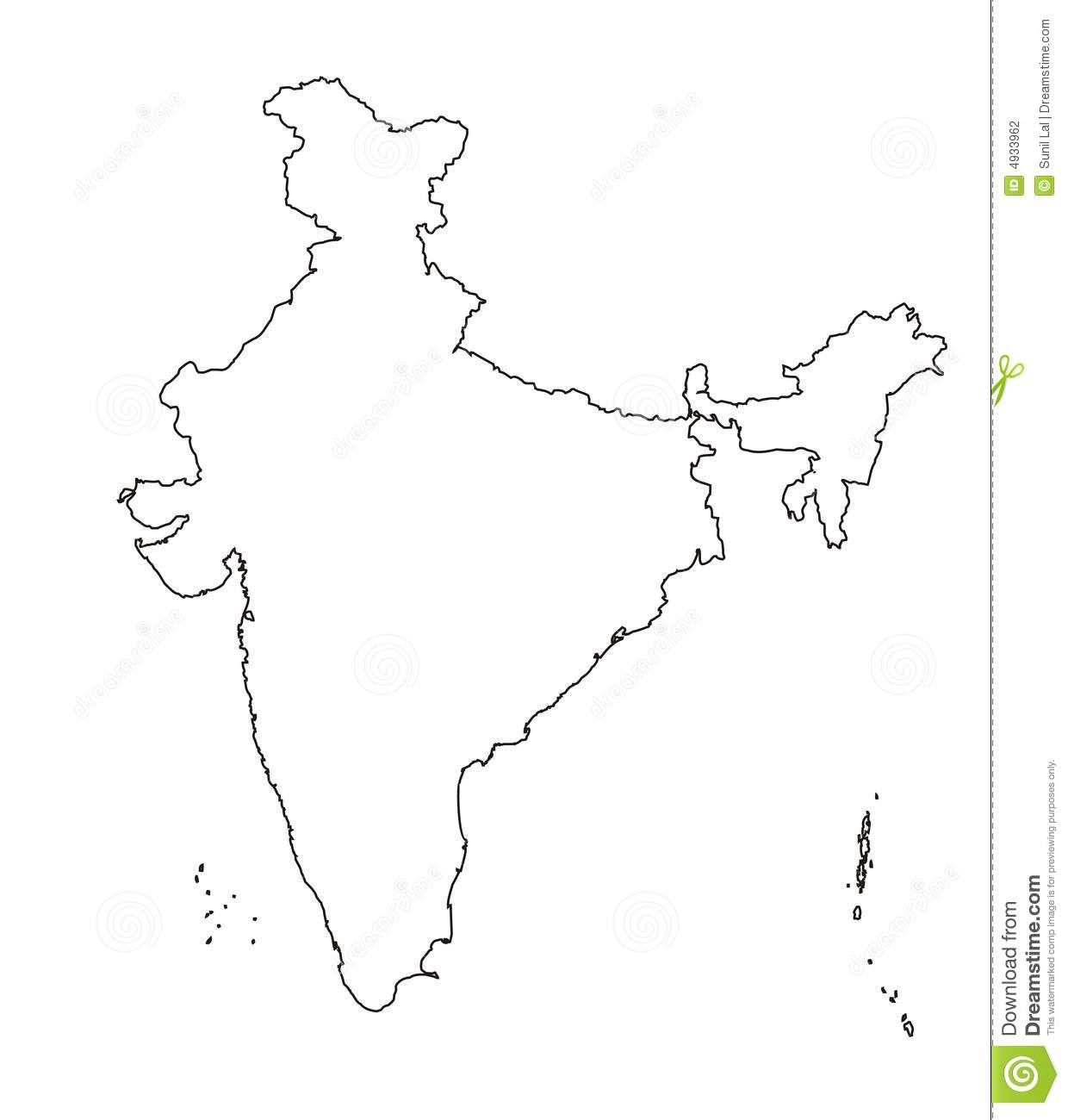 Map Of India Outline Authentic Stock Photography