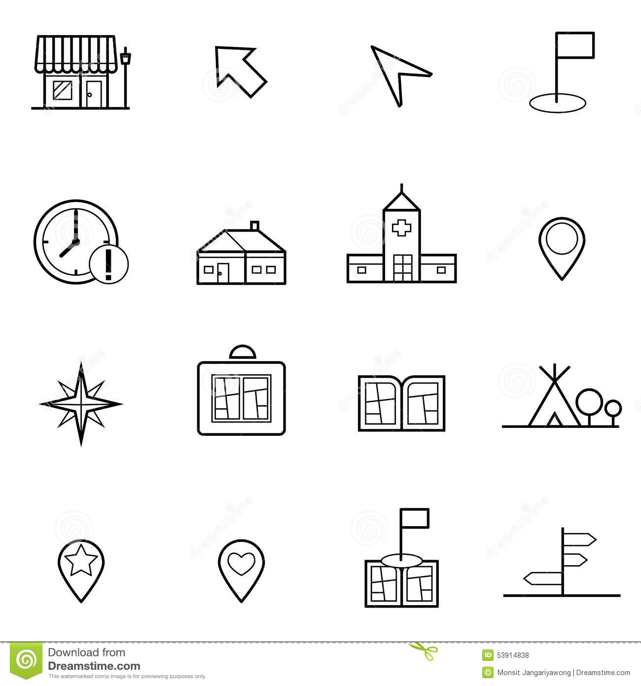 Map And Location Icons Set Vector Illustration Stock