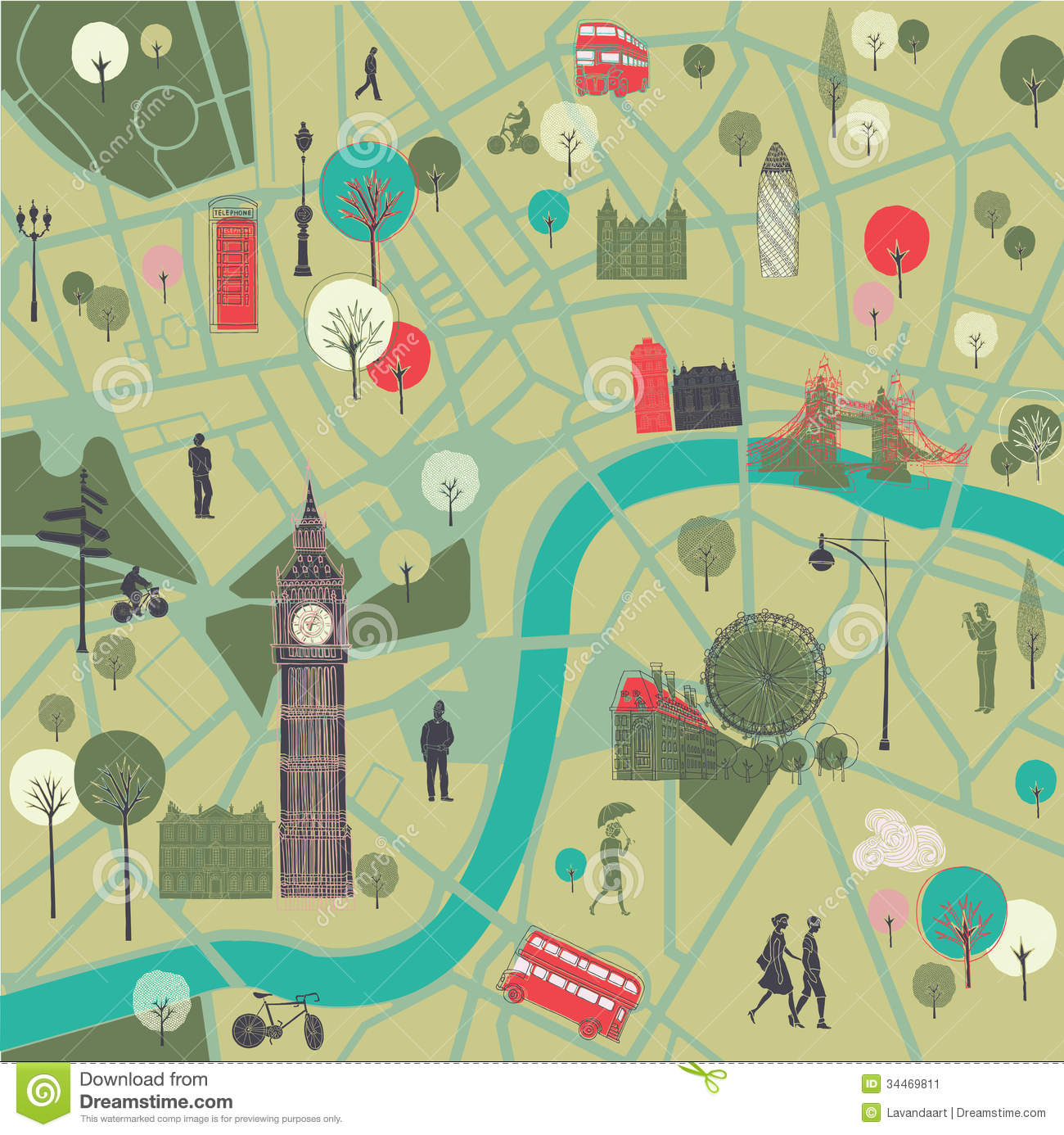 Map Of London With Landmarks Stock Image