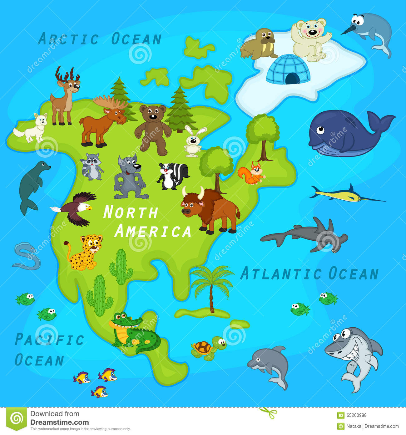 Map Of The North America With Animals Stock Vector