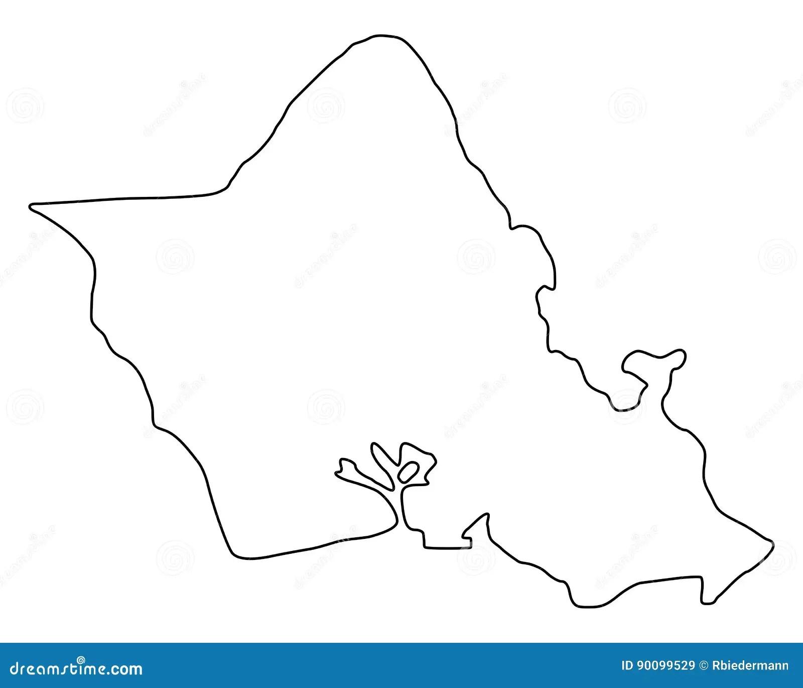 Map Of Oahu Vector Illustration