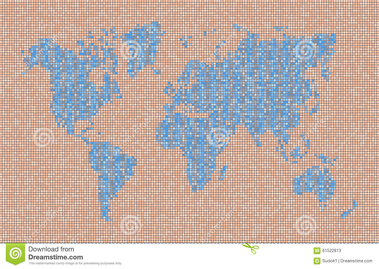 Map Of Planet Earth With Continents And Oceans Stock