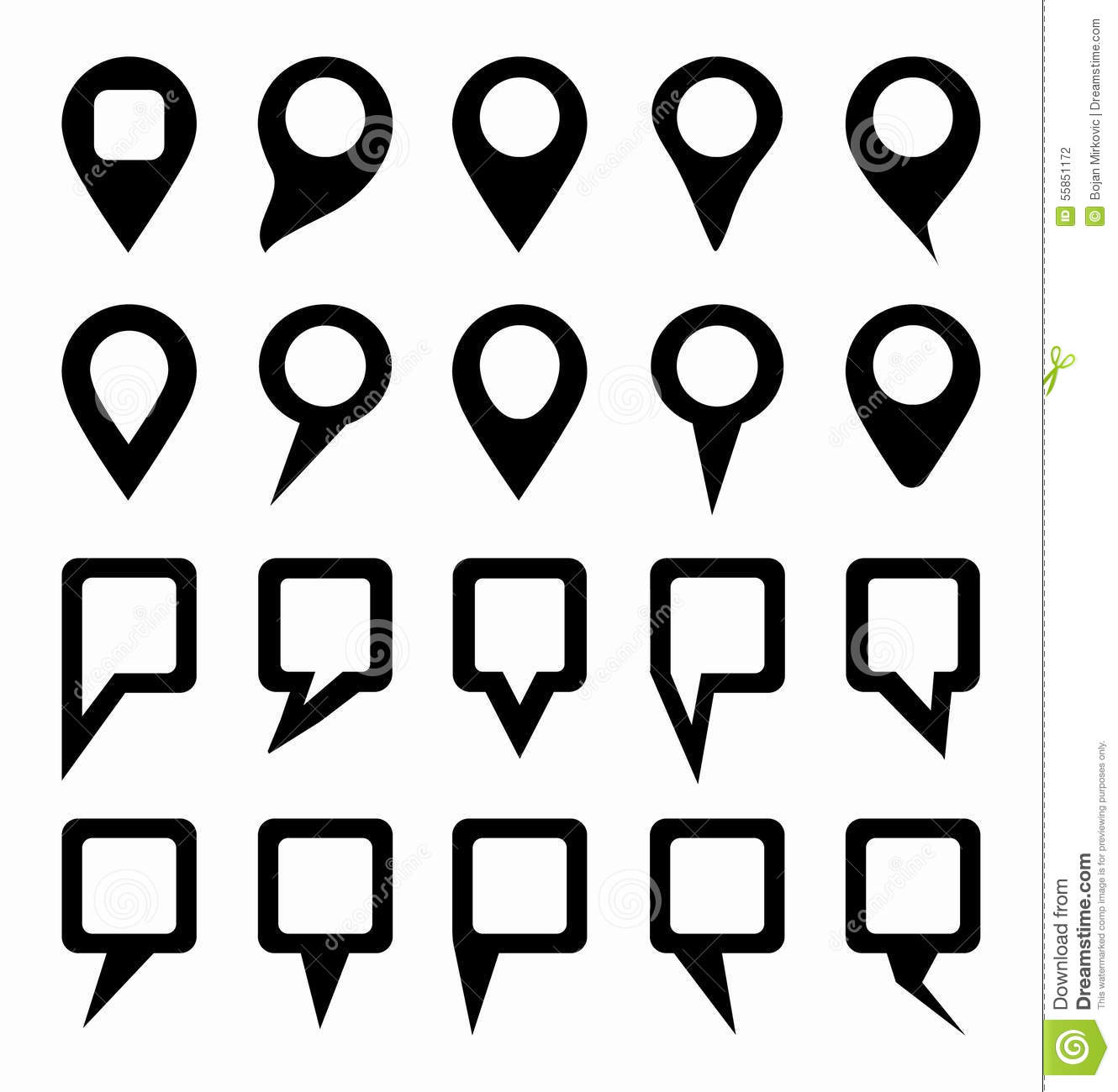 Map Pointer Icons Set. Location Marker Symbol Stock Vector