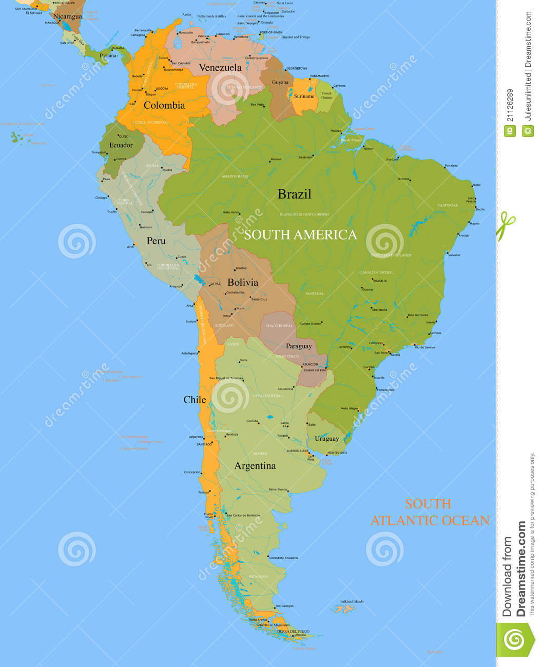 Map South America  Vector  Detailed Royalty Free Stock