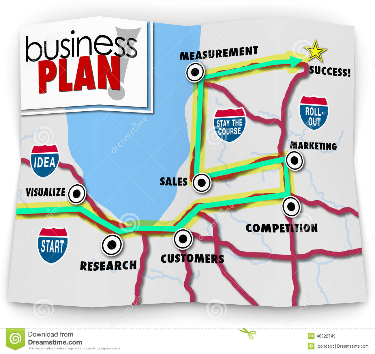 Map Start Up Success Road Directions Launch New Business