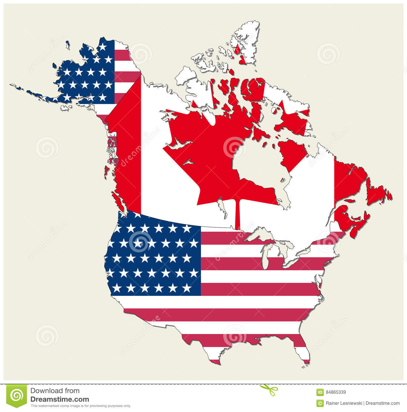 It is the national flag of the united states of america which consists of thirteen horizontal stripes that are spread over the entire flag. Usa Canada Flag Map Stock Illustrations 2 154 Usa Canada Flag Map Stock Illustrations Vectors Clipart Dreamstime