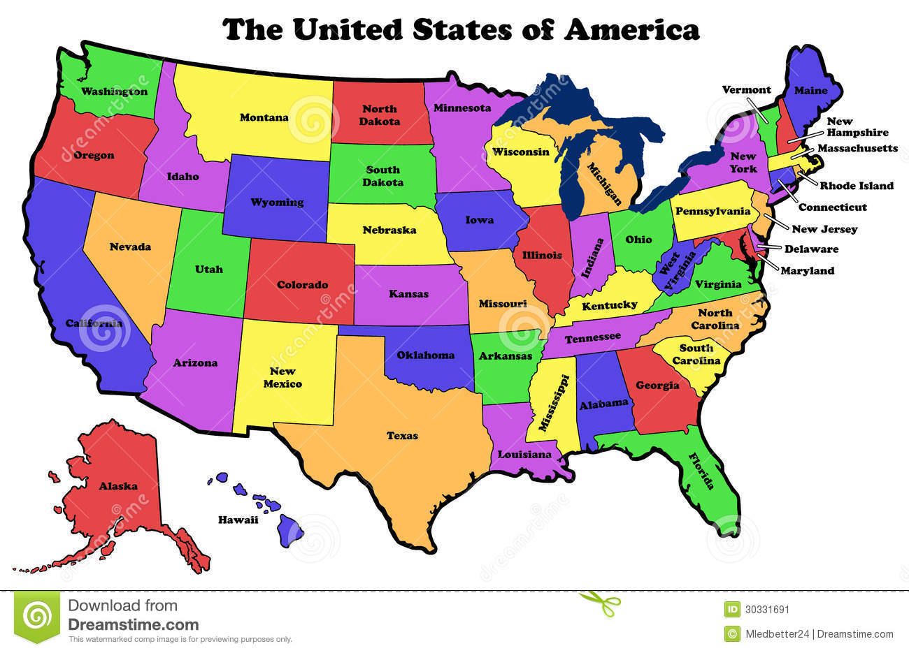Map Of United States With State Names Stock Illustration
