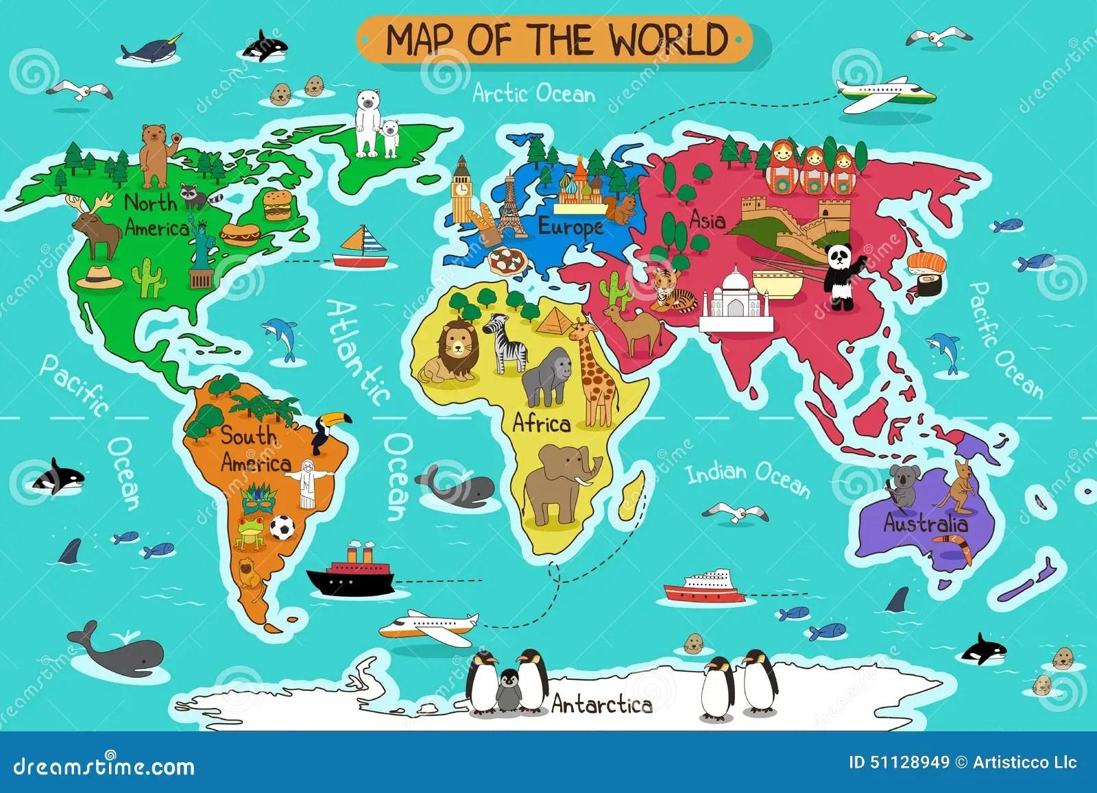 Map Of The World Stock Vector Illustration Of Illustration