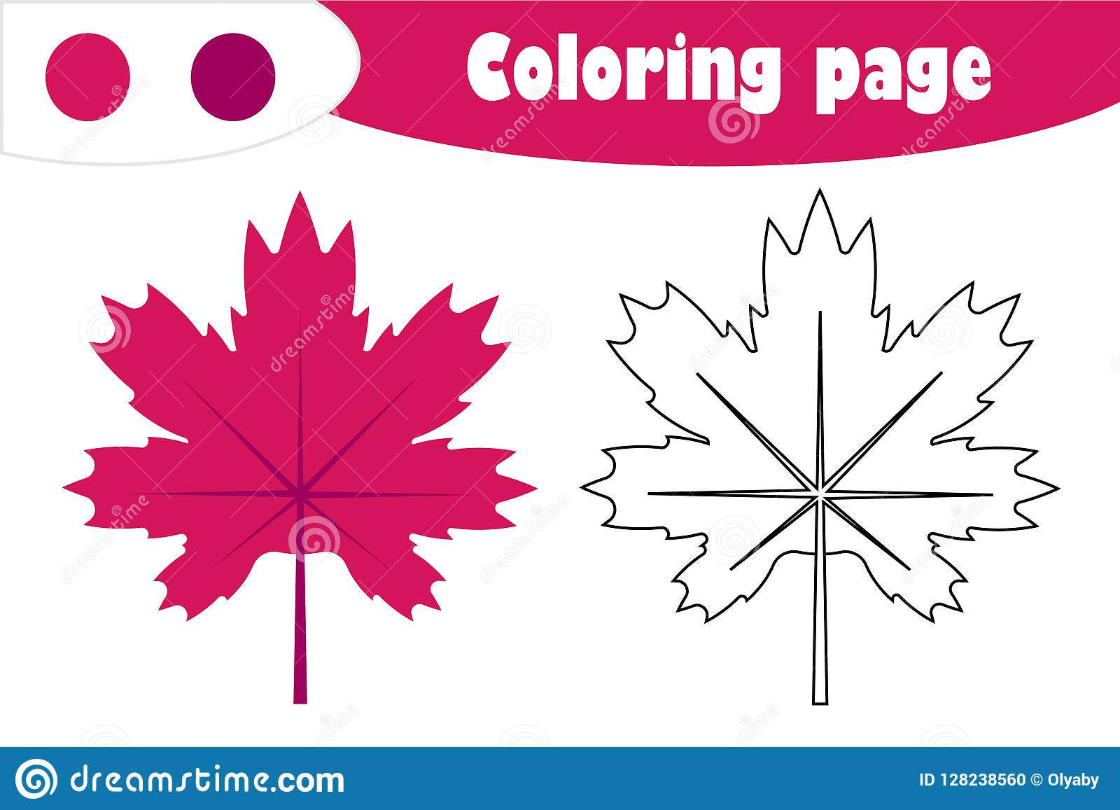 Maple Leaf In Cartoon Style Autumn Coloring Page