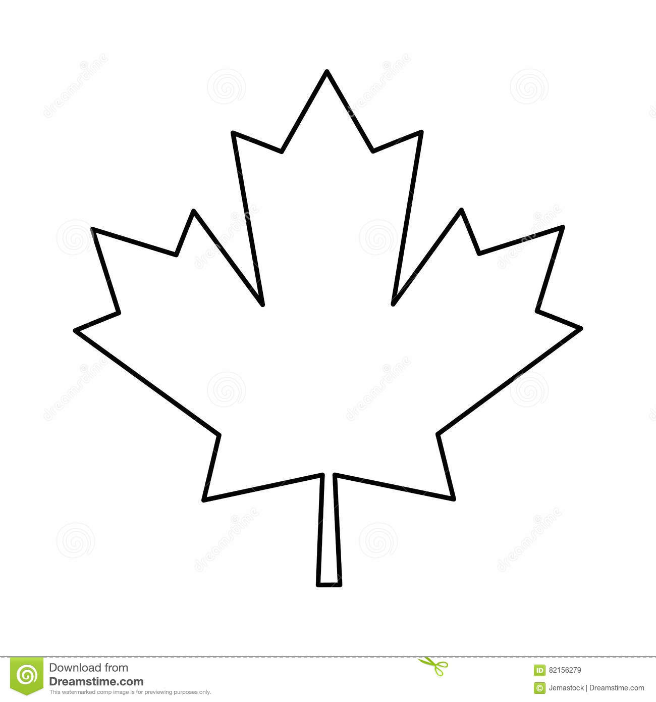 Maple Leaf Green Sign Canadian Outline Stock Vector