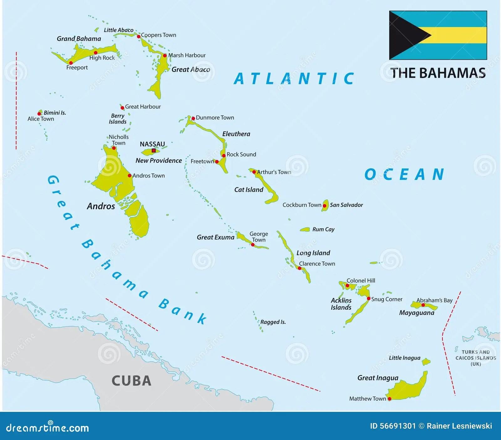 Mappa Delle Bahamas Con La Ban Ra Illustrazione Di Stock