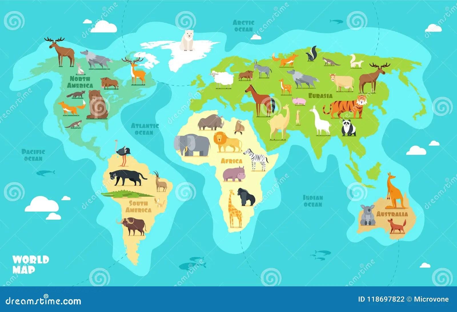 Mappa Di Mondo Del Fumetto Con Gli Animali Gli Oceani Ed