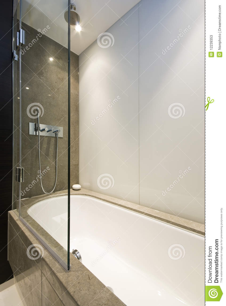 Marble Bath Tub With Slim Line Shower Attachment Stock