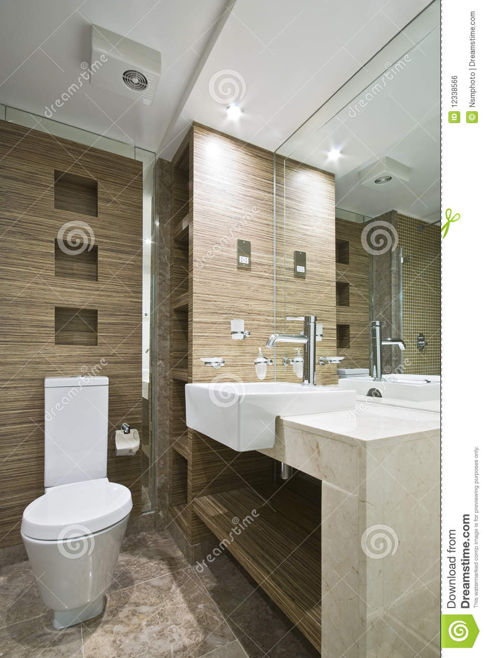 Marble Bathroom With Mosaic Tiles Stock Photo  Image