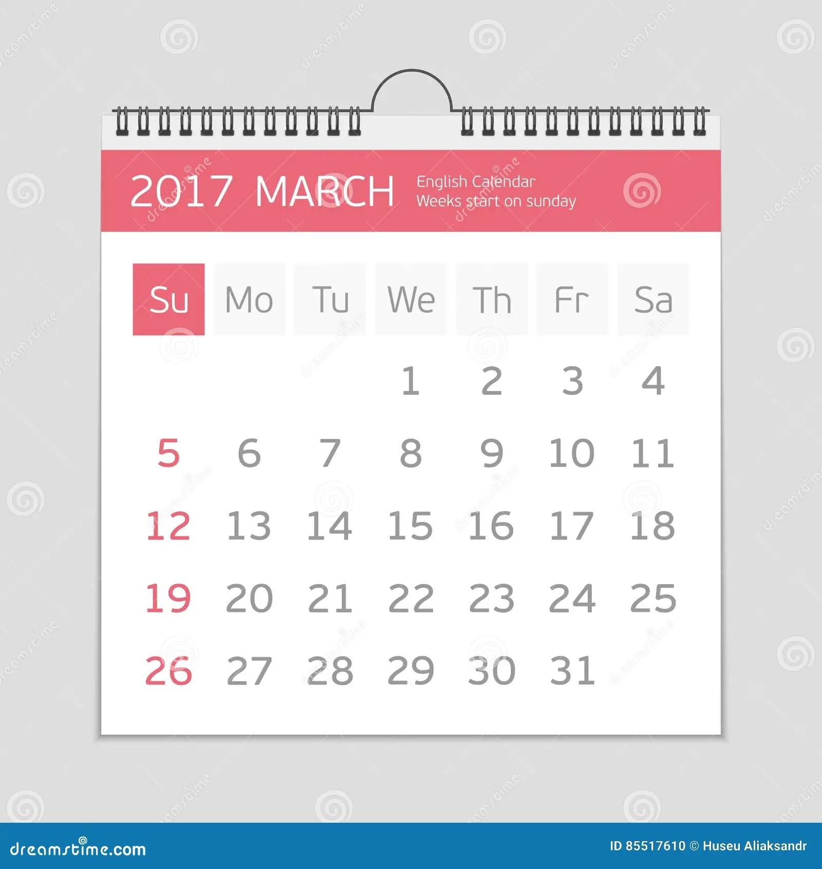 March Calendar Template Stock Vector
