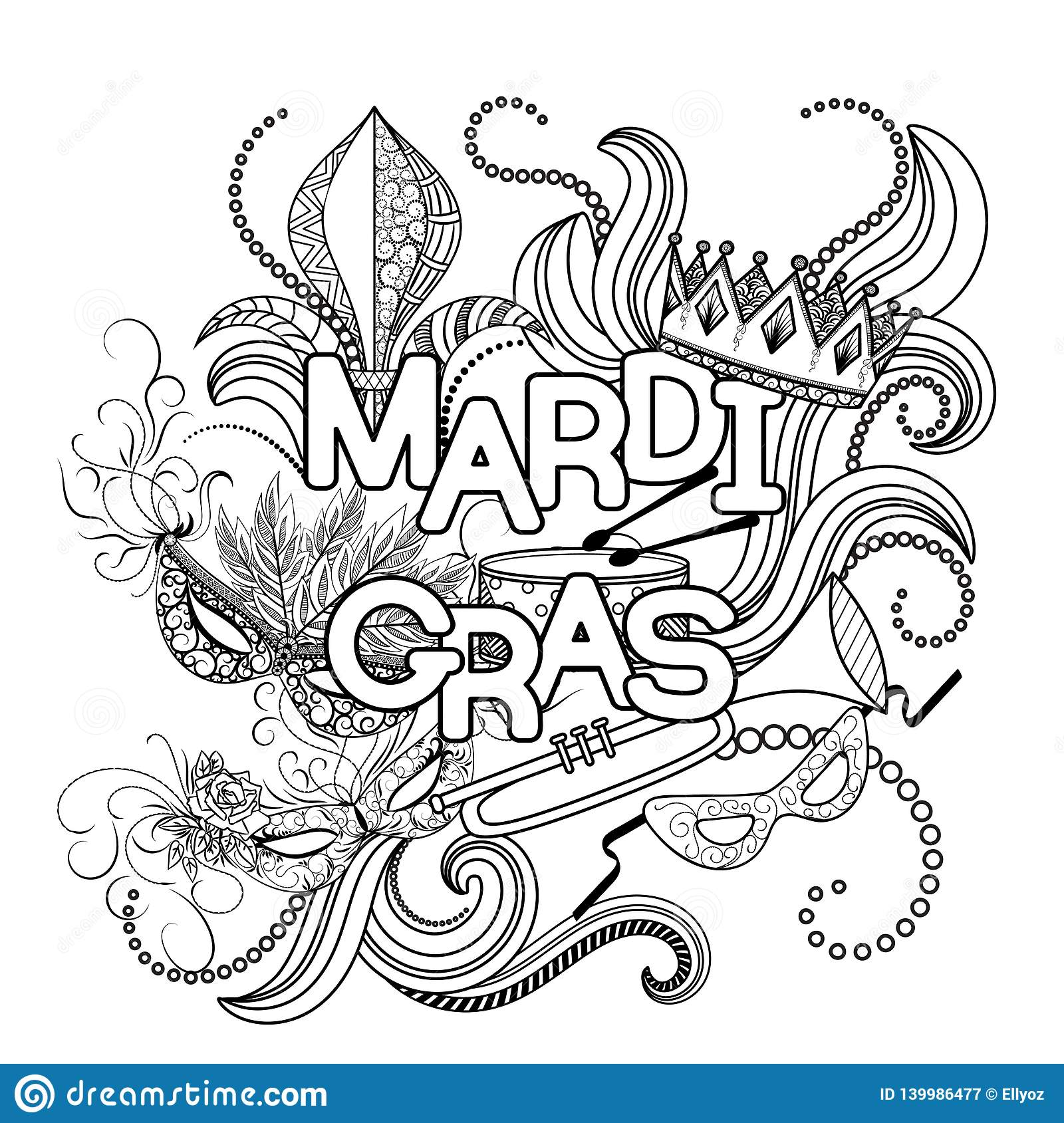 Mardi Gras Coloring Page Stock Vector Illustration Of
