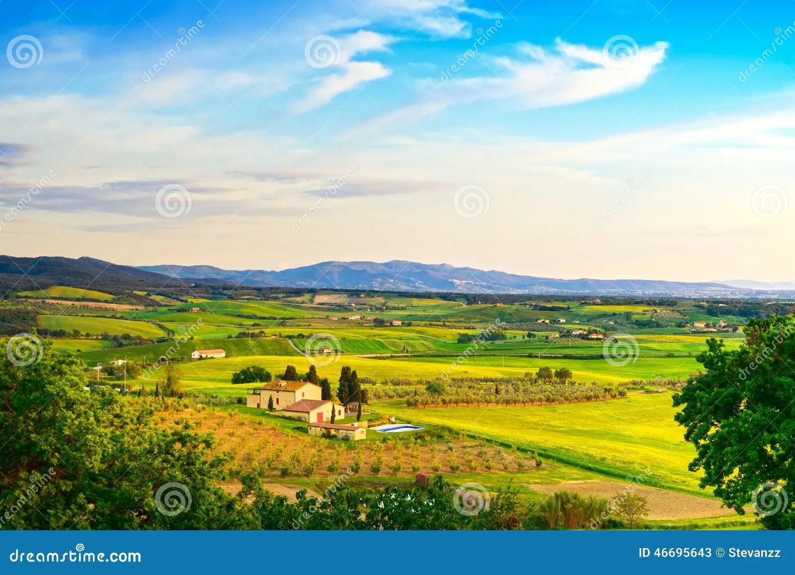 Maremma Paesaggio Rurale Di Tramonto E Immagine Stock  Immagine di campagna italiano 46695643