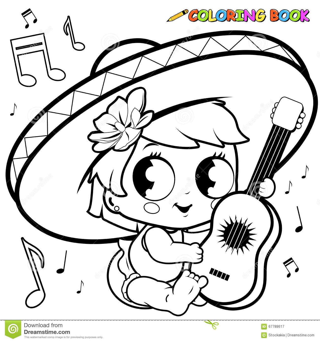 Mariachi Baby Girl Playing The Guitar Coloring Page Stock Vector