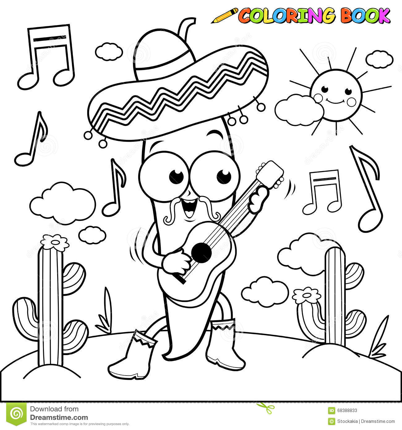 Mariachi Chili Pepper Playing The Guitar Coloring Page