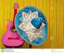 Mariachi Embroidery Mexican Hat Pink Guitar Stock