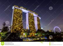 Marina Bay Sands Hotel And Singapore Flyer Stock