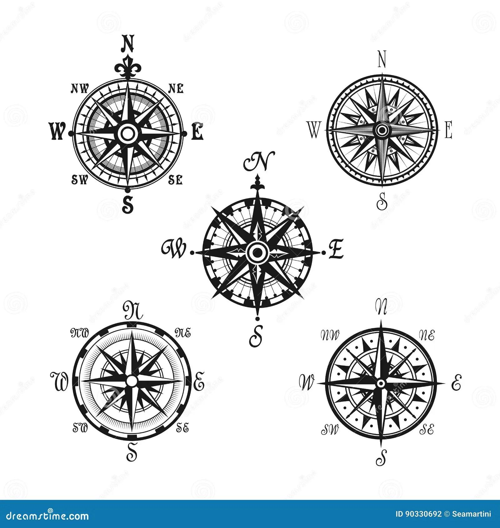 Marine Or Nautical Compass Navigation Vector Icons Stock