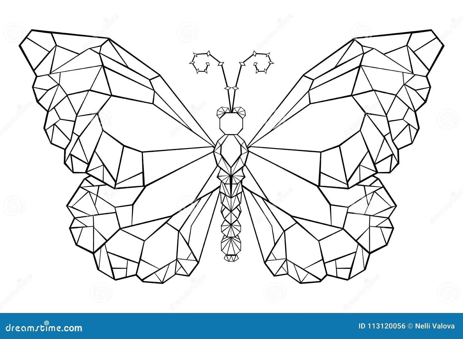 Mariposa Poligonal Del Tatuaje Del Negro Del Monarca De La
