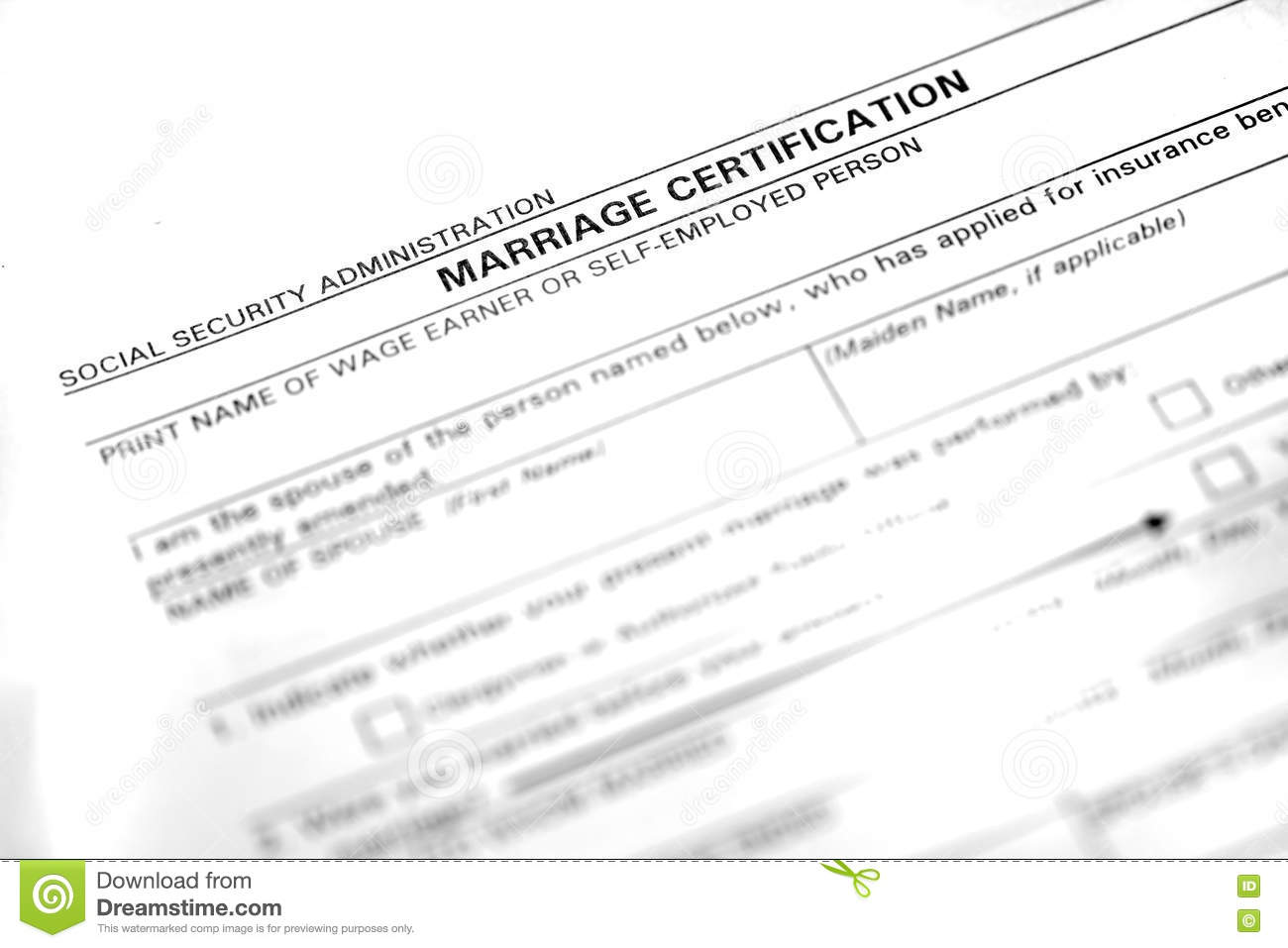 Marriage Certificate Form stock photo. Image of document