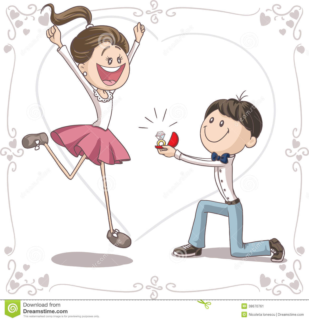Marriage Proposal Vector Cartoon Stock Image Image 38670761