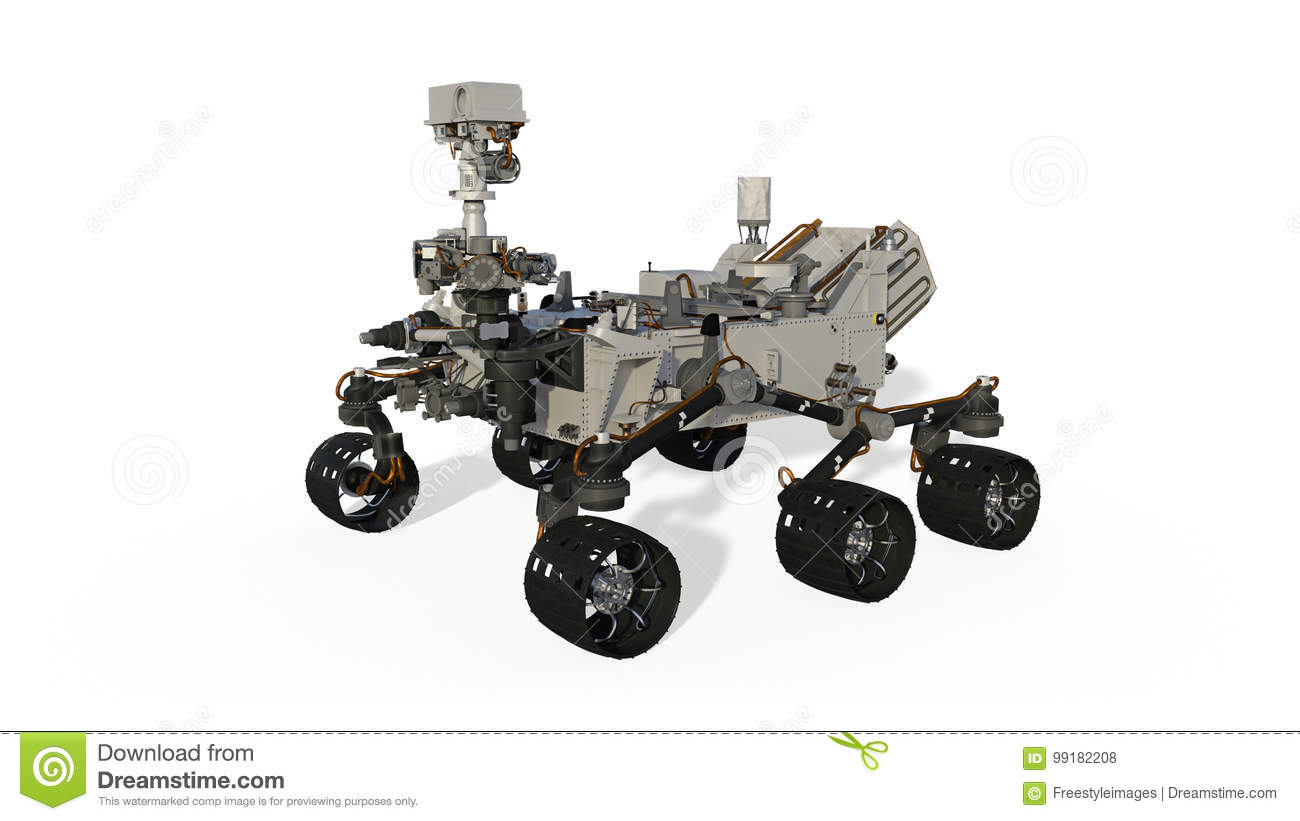 Mars Rover Space Vehicle Isolated On White Background 3d