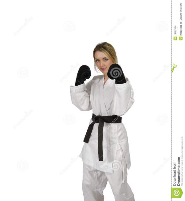Martial Arts Woman Wearing Boxing Gloves Stock