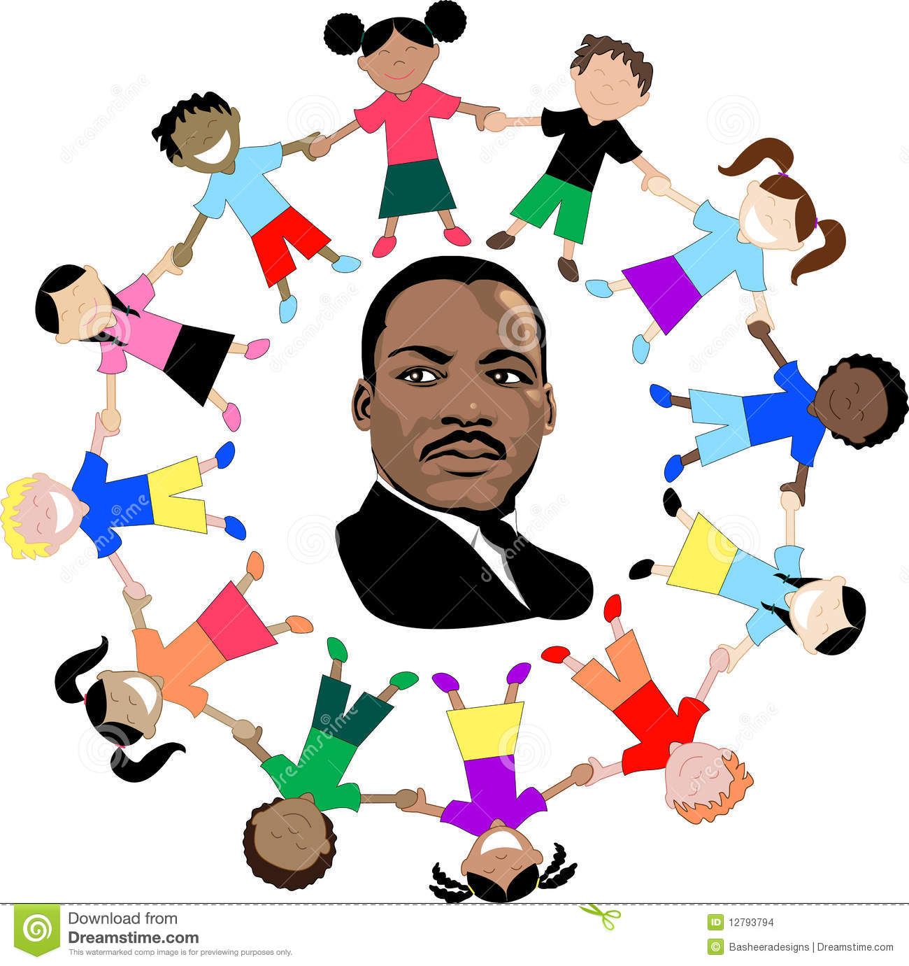 Martin Luther King With Kids Editorial Stock Image