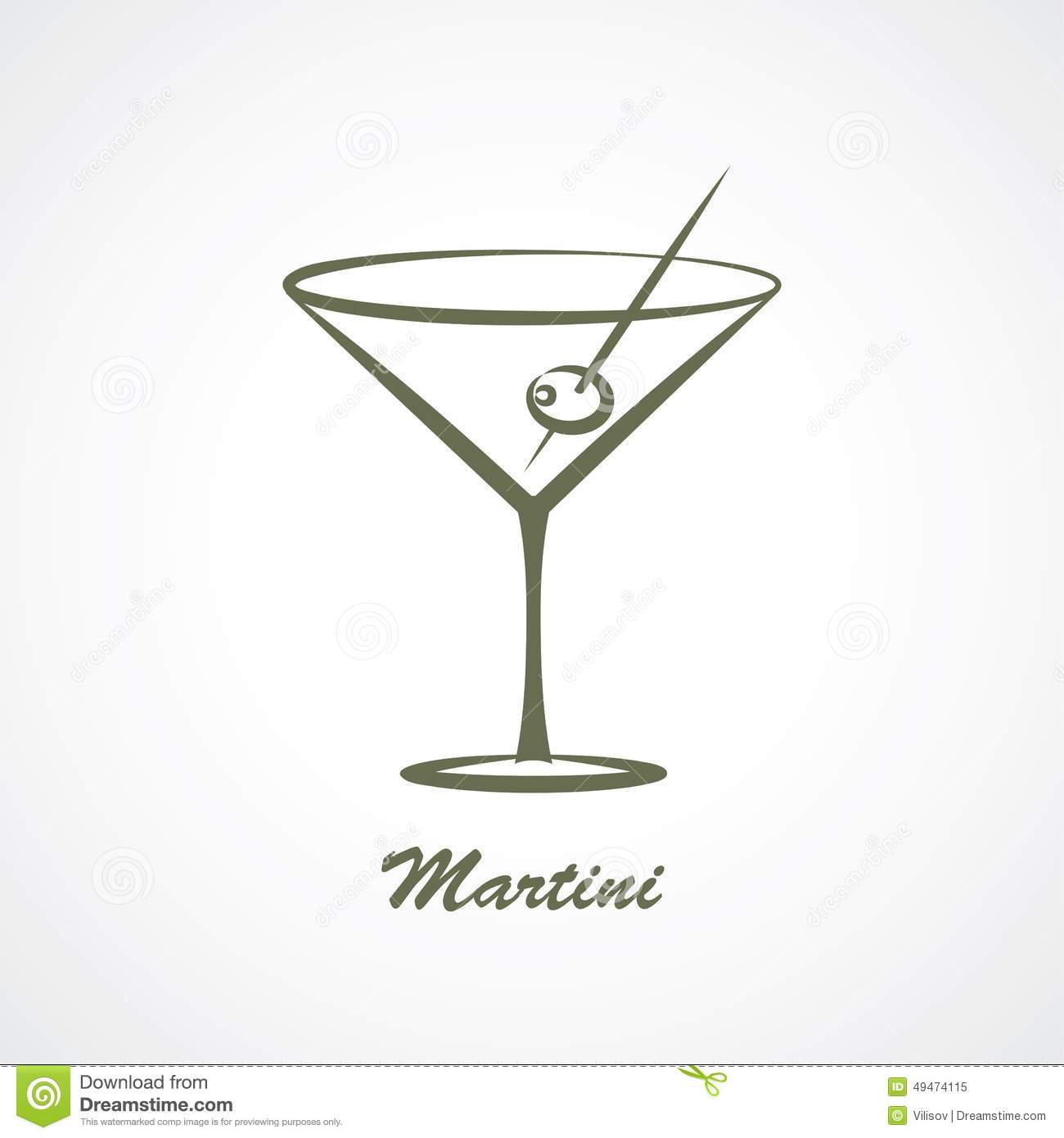 Martini Stock Vector Illustration Of Contour Cocktail