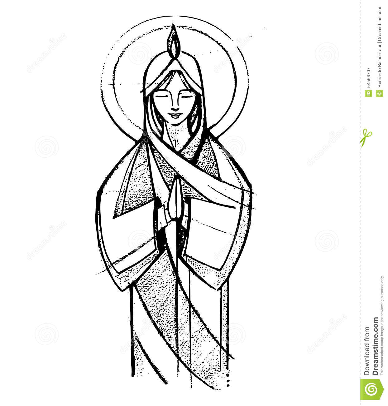Mary At Pentecost Stock Vector Illustration Of Woman